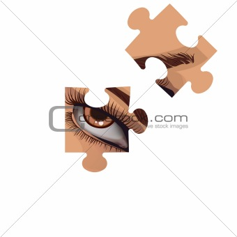 Fragments of a puzzle with a human eye.