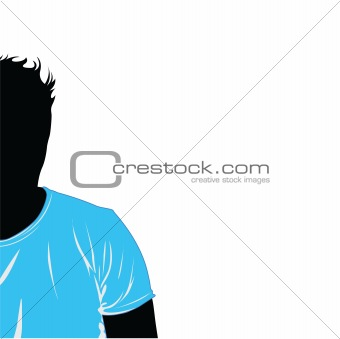 Black silhouette of the man in blue a T-shirt. Vector illustration