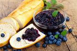 Baguette with blueberry jam