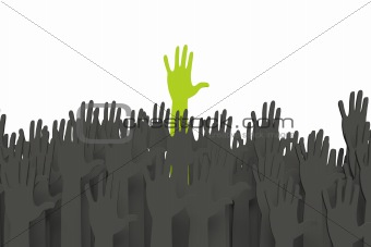 Green hand standing out with clipping path