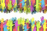 Colorful group of hands with clipping path
