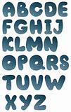 Water bubbles on a blue glass - Alphabet
