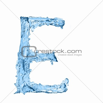 alphabet made of frozen water - the letter E