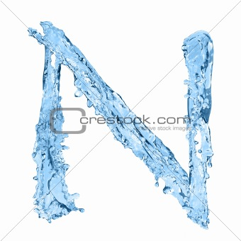 alphabet made of frozen water - the letter N