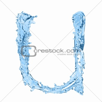 alphabet made of frozen water - the letter U