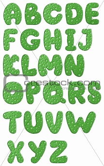 green alphabet with waterdrops