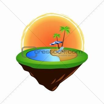 green grass island with summer elements vector