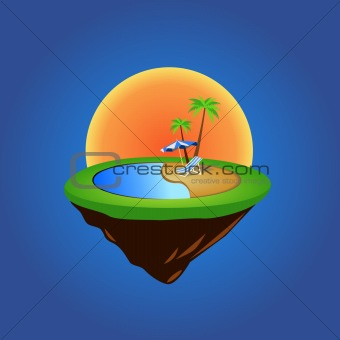 green grass island with summer elements vector