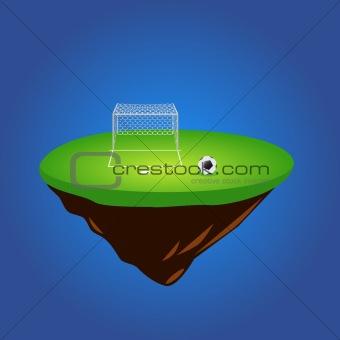 green grass island and soccer ball vector