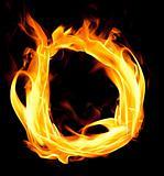 Fiery font. Letter D