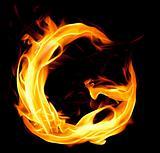 Fiery font. Letter G