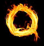 Fiery font. Letter Q