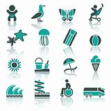 Tourism, Recreation &amp; Vacation, icons set.
