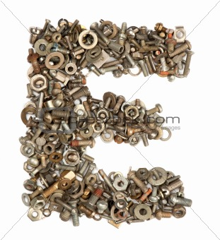 alphabet made of bolts - The letter e