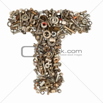 alphabet made of bolts - The letter t