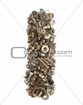alphabet made of bolts - The letter i