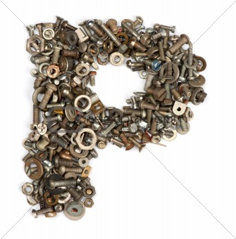 alphabet made of bolts - The letter p