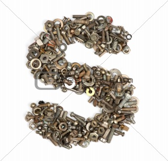 alphabet made of bolts - The letter s