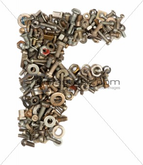 alphabet made of bolts - The letter f