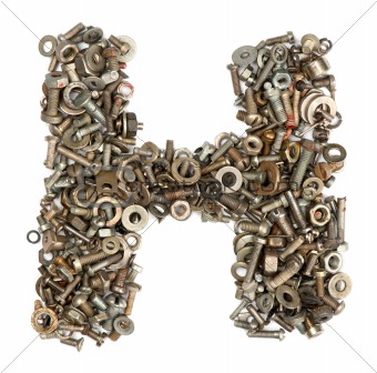 alphabet made of bolts - The letter h