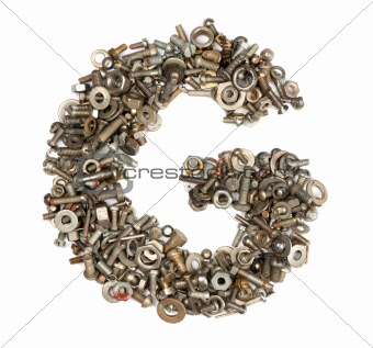 alphabet made of bolts - The letter g