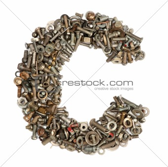 alphabet made of bolts - The letter c