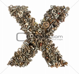 alphabet made of bolts - The letter x