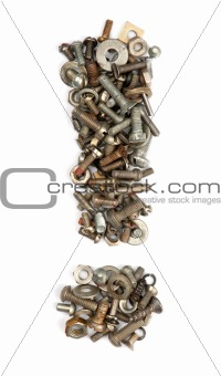 alphabet made of bolts - exclamation mark