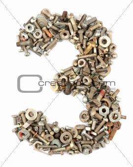 numbers made of bolts - three