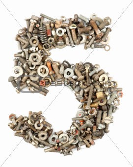 numbers made of bolts - five