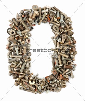 numbers made of bolts - zero