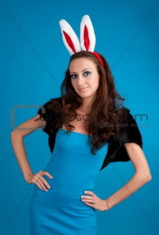 Beautiful young woman with rabbit ears