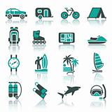 Vacation, Recreation &amp; Travel, icons set.