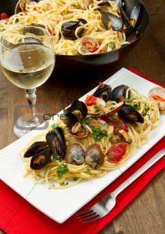 delicious pasta with clams