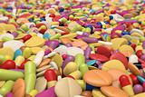 close-up view of thousand different drugs and pills