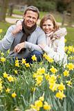 Couple Kneeling In Daffodils