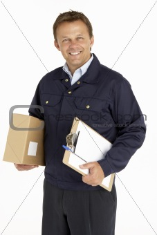 Portrait Of Courier Holding A Parcel And Clipboard