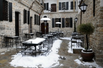 Empty Courtyard Restaurant in the Winter