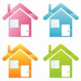 colorful houses icons