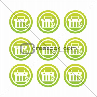 green shopping baskets signs