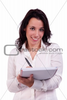 beautiful and happy businesswoman taking notes, isolated on white, studio shot