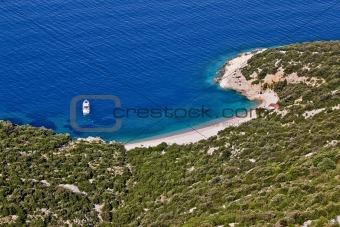 Crystal clean beach aerial view