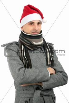 handsome young man in santa hat
