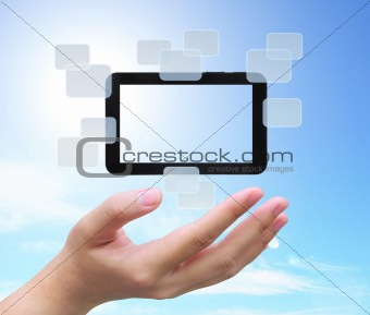 touch pad PC on women hand