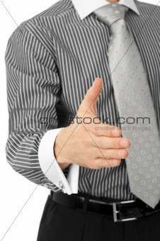 businessman giving hand for an handshake
