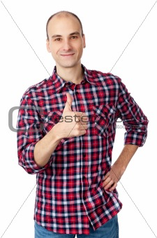 man in shirt showing his thumb up