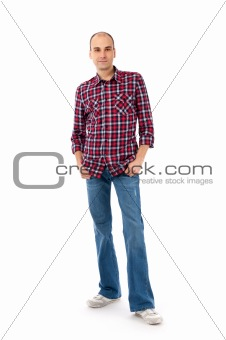 young casual man full body
