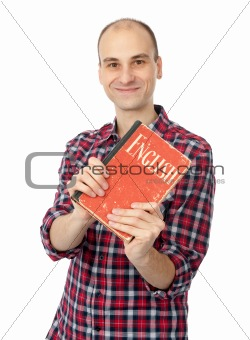 young friendly student with English Dictionary