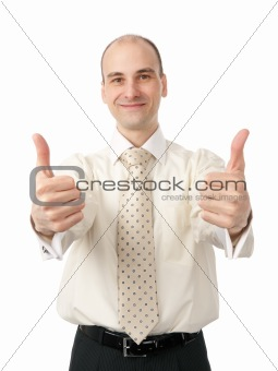 Successful business man gesturing a thumbs up sign