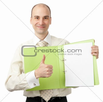 businessman shows his thumb up